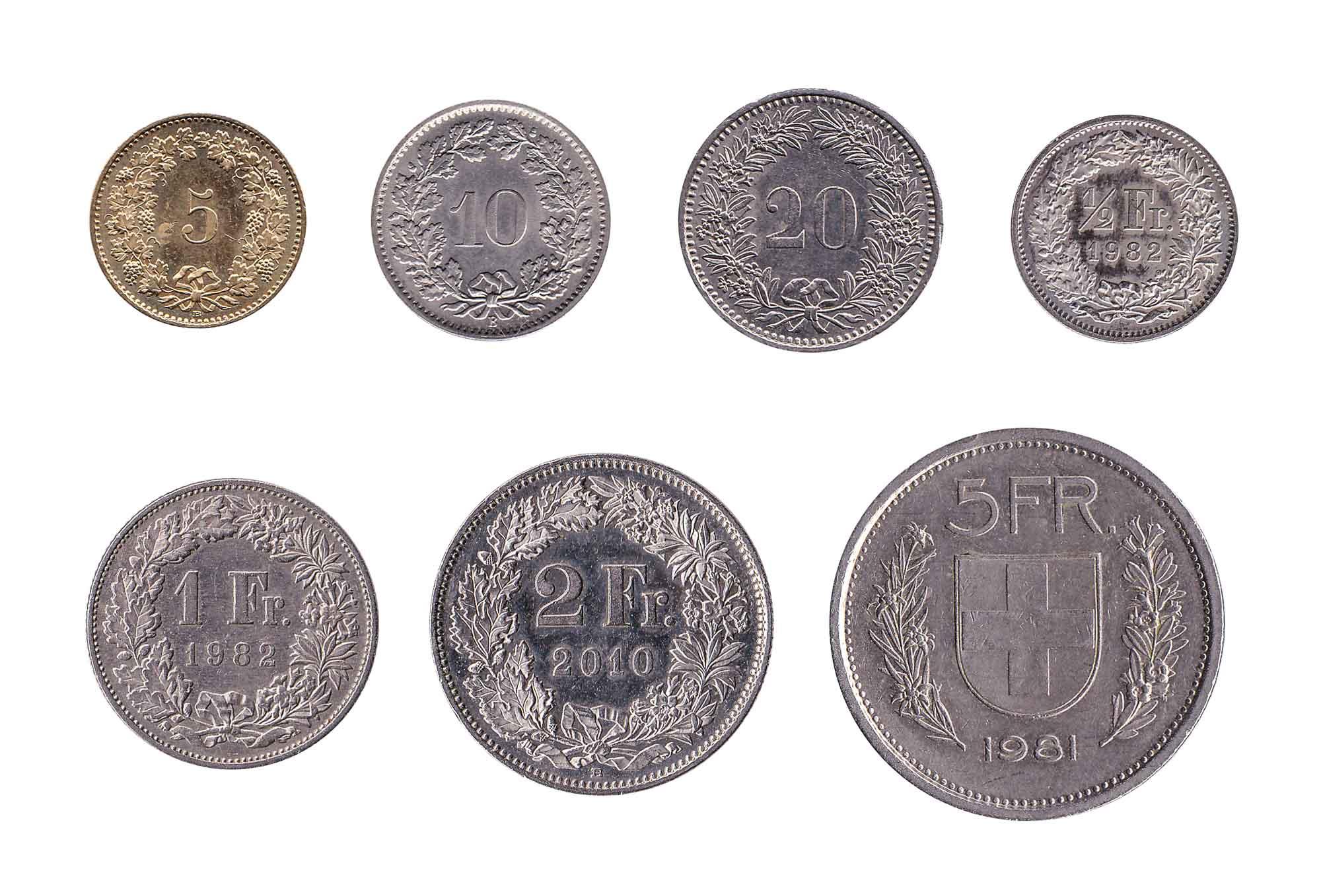 Swiss franc coins
