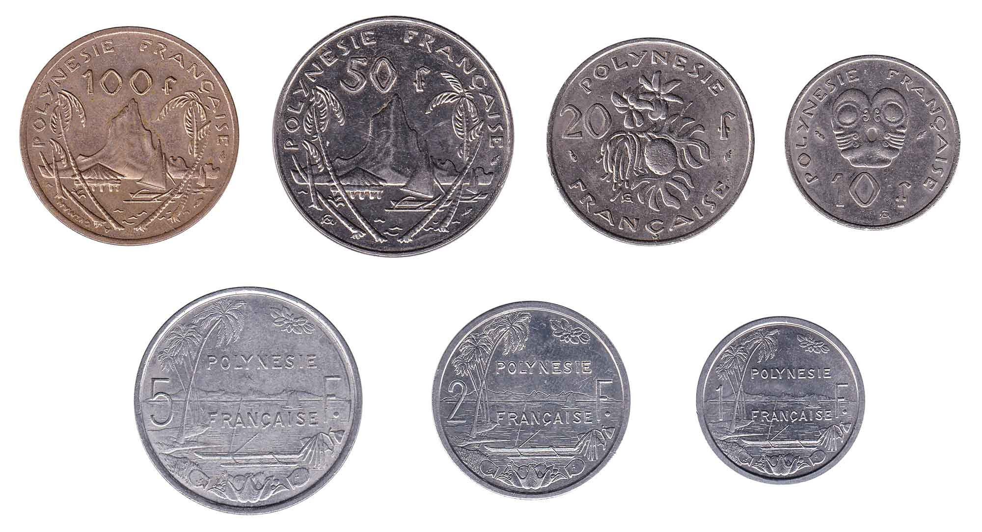 French Polynesian cfp franc coins